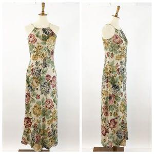 VTG 90's Karen Kane Linen Floral Maxi Dress, 6